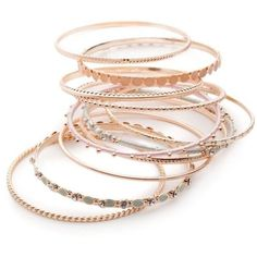 Red Camel Rose Gold Rose Gold-Tone Make Me Blush 9-Piece Bangle... (€13) ❤ liked on Polyvore featuring jewelry, bracelets, rose gold, rose gold tone jewelry, bracelets bangle, hinged bangle, polish jewelry and rose gold jewellery