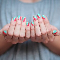 DIY Coral & Mint Stripe Manicure - tape half of your nails in a diagonal direction, paint 2 coats of Coral, wait for it to dry and remove the tape. Then, tape the other half of your nail, apply 2 coats of Turquoise, wait for it to dry, remove the tape, add a top coat and Voila!