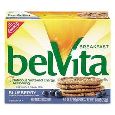 CADBURY ADAMS USA, LLC belVita Breakfast Biscuits, Blueberry, 1.76 oz Pack, 64/Carton (2908) *** You can get more details by clicking on the image.