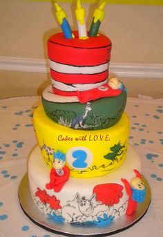 Four tier Dr Seuss cake for two-year old.JPG