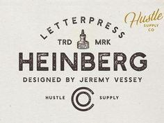Product Designer (Hustle Supply Co.) on Creative Market #letterpress #fontlove #fontidea
