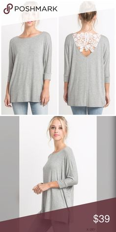 Crochet back 3 qtr sleeve top! Gorgeous in Heather gray and white- I love the detail in this piece- casual and beautiful Tops