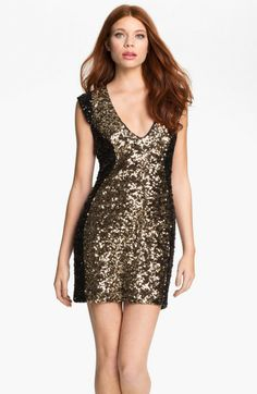 French Connection Gold Moonray Vneck Colorblock Sequin Dress