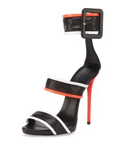 Leather Mesh Triple-Strap Sandal, Bianco - Giuseppe Zanotti