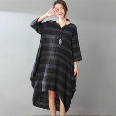 Spring Loose Stripe Cotton-Linen Dress