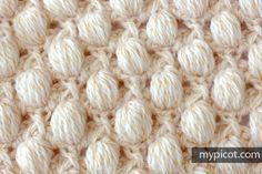 Textured Puff stitch Diagram + step by step instructions MyPicot | Free crochet patterns