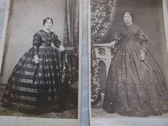 2 cdvs of women in hoop dresses 1 by Balch's NY