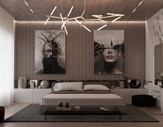 Bedroom with art and design. Light neutral color scheme.
