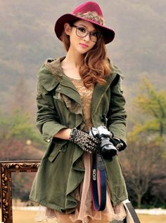 Lace Flounced Design Hoodie Zipper Army Green Trench Coat