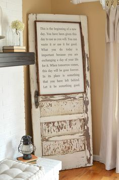 How to safely secure an old door to the wall. Great tip to safely use old doors as decor in your home.