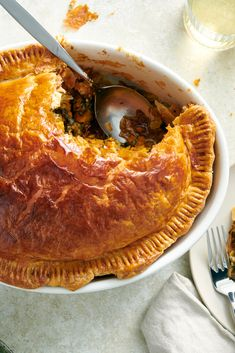 NYT Cooking: This is a substantial main-course vegetable pie. Use butternut or any other hard squash variety. The pie may be baked up to several hours in advance and reheated to serve. This allows flavors to meld and makes cutting the pie easier.