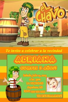 El Chavo del Ocho Birthday Invitation $8.99