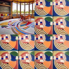 Happy Frank Friday! Frank Lloyd Wright produced so many inspirational designs during his lifetime-including this ultra fabulous rug from his Hoffman House in Rye, New York. Check out this side by side comparison of Wright's original rug and our take on it in tile! #motawi #motawitileworks #flw #hoffmanhouse