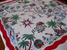 Vintage 1940s Florida souvenir tablecloth with by 3floridagirls, $90.00