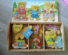 Wooden Bear Family Wear Change Dress Up Puzzle Set Educational Toys Educational Toys For Kids, Learning Toys, Kids Toys, Puzzles For Toddlers, Wooden Alphabet, Wooden Jigsaw Puzzles, Games Box, Puzzle Toys, Bear Toy