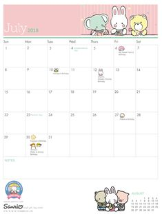 Sanrio's July Calendar Of Events Planner Board, Study Planner, Life Planner, July Calendar, Kids Calendar, Student Planner Printable, Planner Template, Planner Sheets, Planner Pages