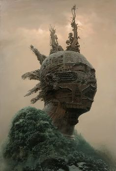 chinese artist depicts rockstars as ancient architectural monuments