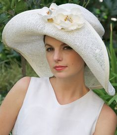 White Straw Wide Brim Kentucky Derby Hat  with Magnolias