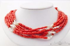 Antique-Vintage-Art-Deco-14k-Gold-6-Strand-Ox-Blood-Red-Coral-Pearl-Necklace