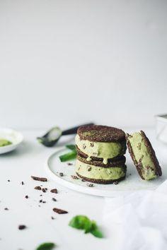 Matcha Mint Chocolate Chip Ice Cream Sandwiches (Vegan + Gluten-Free) by The Green Life