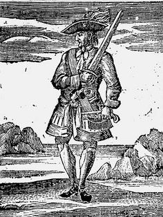 """Calico Jack Rackham, from an early 18th century engraving made by an artist who had never seen him. John  """"Calico Jack"""" Rackham had mediocre accomplishments as a pirate. His fame comes from the fact that two most famous woman pirates, Anne Bonny and Mary Read sailed under his flag. He was hung at Gallows Point in Port Royal, Jamaica on November 18, 1720. His body was later placed in a gibbet on a small sandbar in the harbor now known as Rackham's Cay."""