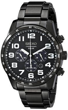 Seiko Men's SSC231 Sport Solar Analog Display Japanese Quartz Black Watch