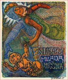 VACHAL, Josef, Czech Republic - bookplate for Milada Hirsova Ex Libris, Czech Republic, Spiderman, Plates, Superhero, Book, Artist, Painting, Fictional Characters