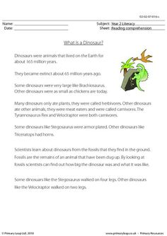 This worksheet includes interesting facts about dinosaurs. Students read the text and then answer the study questions. Primary resources from www.primaryleap.co.uk