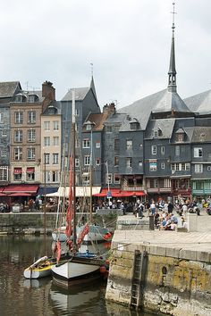 """Honfleur , France, where my favourite Raoul Dufy Painting """"The Jetty at Honfleurs"""" was set. Normandie France, Provence France, The Places Youll Go, Places To See, Omaha Beach, Belle France, Honfleur, Visit France, French Countryside"""