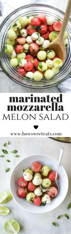 Marinated Mozzarella Melon Salad - Watermelon, Cucumber and Fresh Mozz! I howsweeteats.com