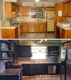 Two Tone Kitchen Cabinets Ideas Concept with modern door design and painted with combining color like in this images picture Victorian Brown and Black ... & From HATE to GREAT a tale of painting oak cabinets ...