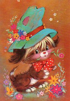 Vintage puppy postcard by CuteEyeCatchers on Etsy Vintage Greeting Cards, Vintage Postcards, Animal Pictures, Cute Pictures, Vintage Illustration, Graphic, Cute Cartoon, Cute Art, Cute Animals