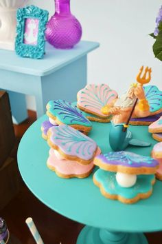 The Little Mermaid Party by Invento Festa Mermaid Theme Birthday, Little Mermaid Birthday, Girl Birthday Themes, Little Mermaid Parties, The Little Mermaid, Birthday Ideas, Birthday Decorations, Mermaid Cakes, Macaron