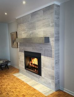 Tiled Fireplace Wall, Brick Fireplace Remodel, Fireplace Facing, Living Room Decor Fireplace, Fireplace Tile Surround, Grey Fireplace, Fireplace Built Ins, Farmhouse Fireplace, Home Fireplace