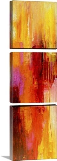 """Vibrant and colorful abstract image created by Erin Ashley, shown here as a three panel triptych. Check out """"Sweet Karma"""" and more like it at GreatBIGCanvas.com"""