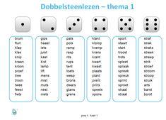 De spellingswoorden nog eens oefenen met het dobbelsteenlezen. De woorden sluiten aan bij thema 1 van Taal Actief groep 4. Learn Dutch, Summer School, Spelling, Homeschool, Stage, The Unit, Learning, Tips, Homeschooling