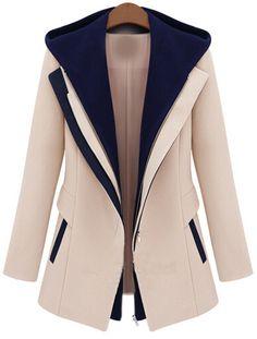 Abrigo contraste capucha cremallera-crudo 26.99