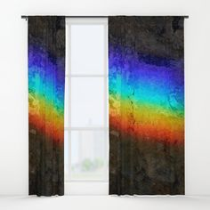 """Your drapes don't have to be so drab. Our awesome Window Curtains transform a neglected essential into an awesome statement piece. Featuring a single-sided print with a reverse white side.     - Dimensions: 50"""" (W) x 84"""" (H)   - Available in single or double panel options   - Crafted with 100% lightweight polyester, blocks out some light   - 4"""" hanging pocket for easy hanging on any rod   - Single side print on front with reverse white side   - Machine wash cold, tumble dry low Window Curtains, Wall Prints, Rainbow, Windows, Graphics, Cold, Quilts, Pocket, Rugs"""