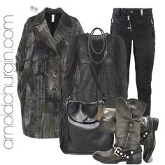 Arnold Churgin Dellaspiga and Arnold Churgin Gitana Footwear, Leather Jacket, Jewellery, Purses, Boots, Polyvore, Jackets, Accessories, Fashion