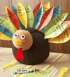 Yarn turkey w/ notes written by the kids about what they are thankful for.