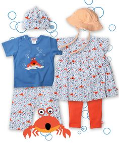 """for summer fun. zutano.com These """"Crab"""" outfits are too cute! I especially like the dress!!"""