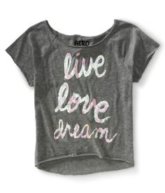 Cropped Sequined Live Love Dream Dorm Tee in Black size Large