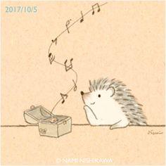 1299 オルゴール a music box ★にしかわなみ個展★ 「うれしいの気持ち、たのしいの気持ち4」 @大阪西天満雑貨店カナリヤ 10月6日(金)最終日です。ありがとうございました。 http://namiharinezumi.com/news/index.html