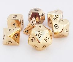 All that glitters is gold! Be the hero of your next gaming session with a set of Metal Dice (Gold Hue). This 16mm standard sized set is made of real, solid metal, and includes all your favorite RPG di