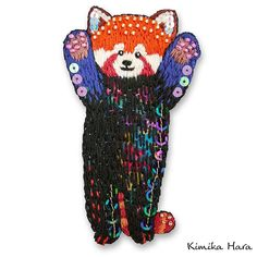 Kimika Hara's embroideries are so cute and colorful. I love the inclusion of beads and sequins along with the vibrant threads! Red Panda, Vibrant, Textiles, Embroidery, Christmas Ornaments, Beads, My Love, Holiday Decor, Cute