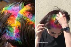 Salon Creates Hidden Rainbow Roots Hair Color | Allure