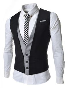 TheLees (VE35) Mens Layered Style 3 Button Slim Vest Waistcoat Black X-Large(US Large) TheLees,http://www.amazon.com/dp/B008N3X9NQ/ref=cm_sw_r_pi_dp_xMGQsb0NDQZ9J1PH