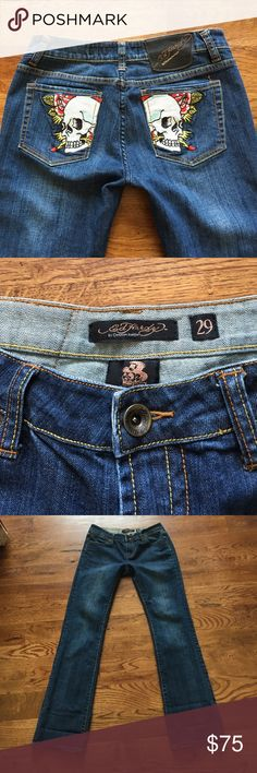 Mint Condition Ed Hardy Jeans! Sz 29 - Like new! These are mint condition Ed Hardy Boot Cut Jeans. Size 29 waist. 98% Cotton. The perfect fit! 32 inch inseam. 8 inch front rise. Absolutely like new condition. Paid $274. Ed Hardy Jeans Boot Cut