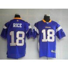 Vikings #18 Sidney Rice Purple Stitched NFL Jersey