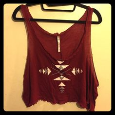 Burgundy aztec crop tank Burgundy crop tank with gray and white aztec design Michelle Tops Tank Tops